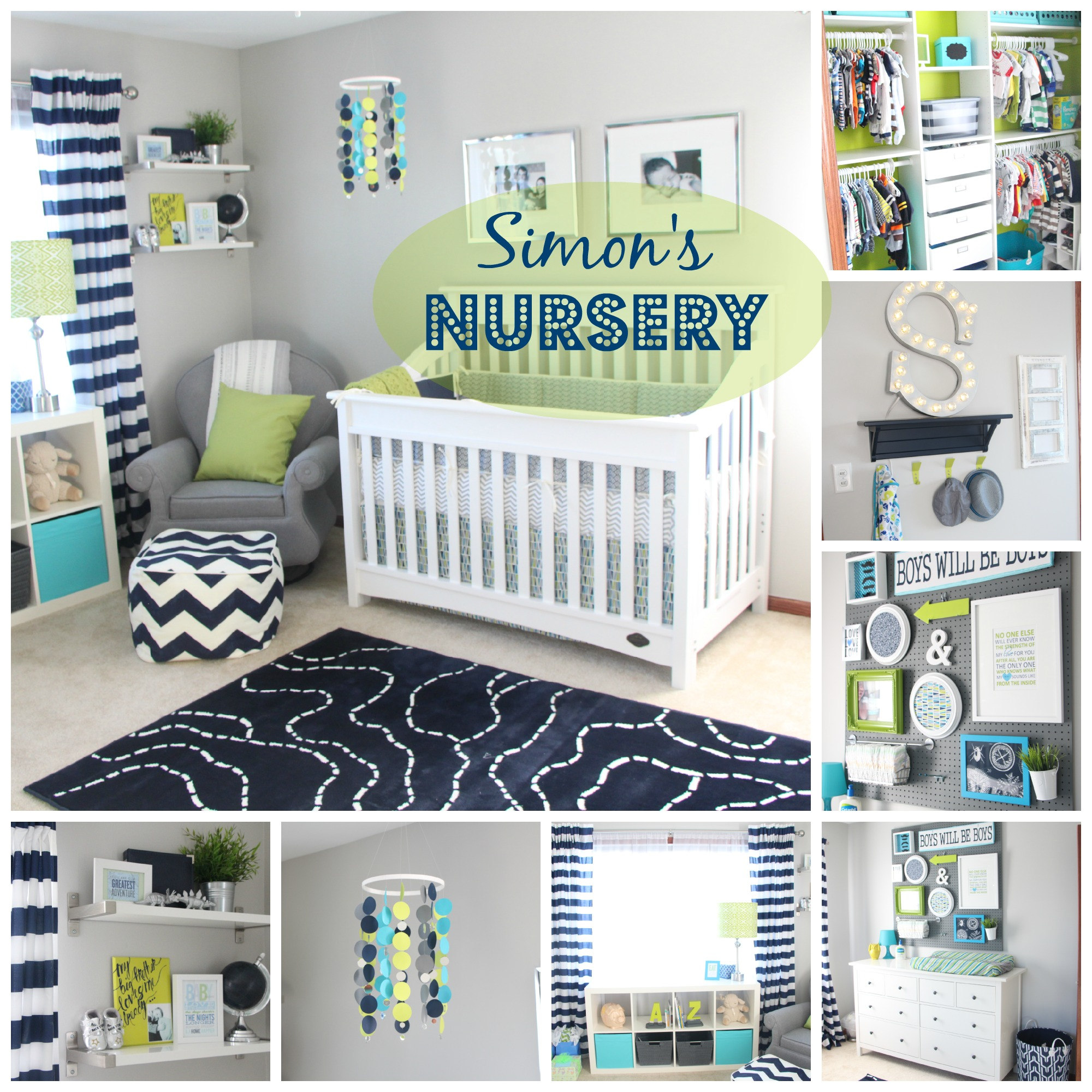 Simon S Nursery Reveal Diy Decorations Navy Green Gray Photos Details