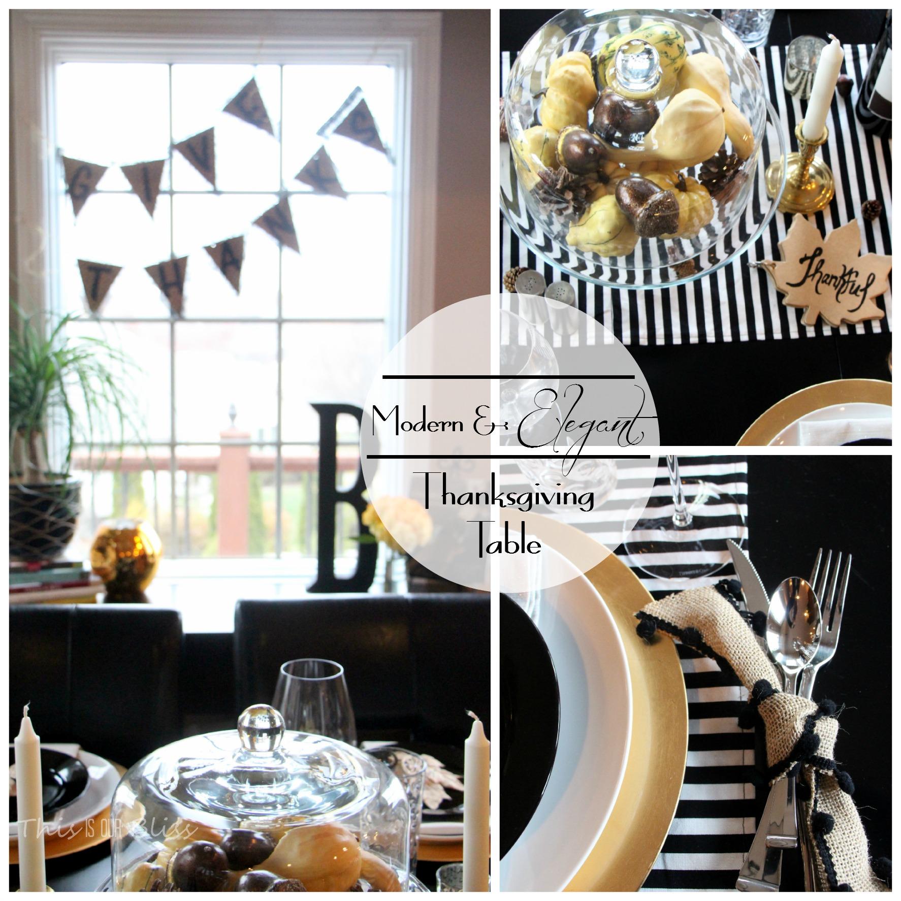Modern Thanksgiving Tablescape Black White Gold Modern