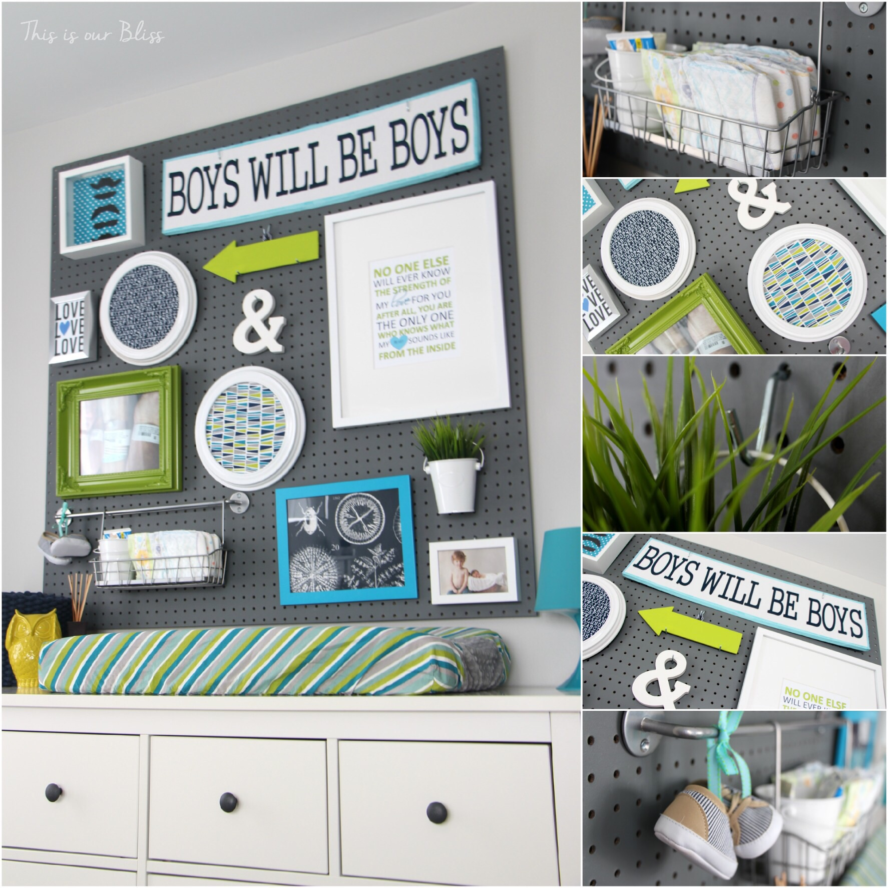 Nursery Pegboard Gallery Wall Diy Decor Baby Boy Lime Green Navy Gray This Is Our Bliss