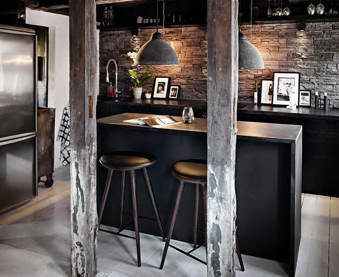 industrial stacked stone dark wood bar This is our Bliss