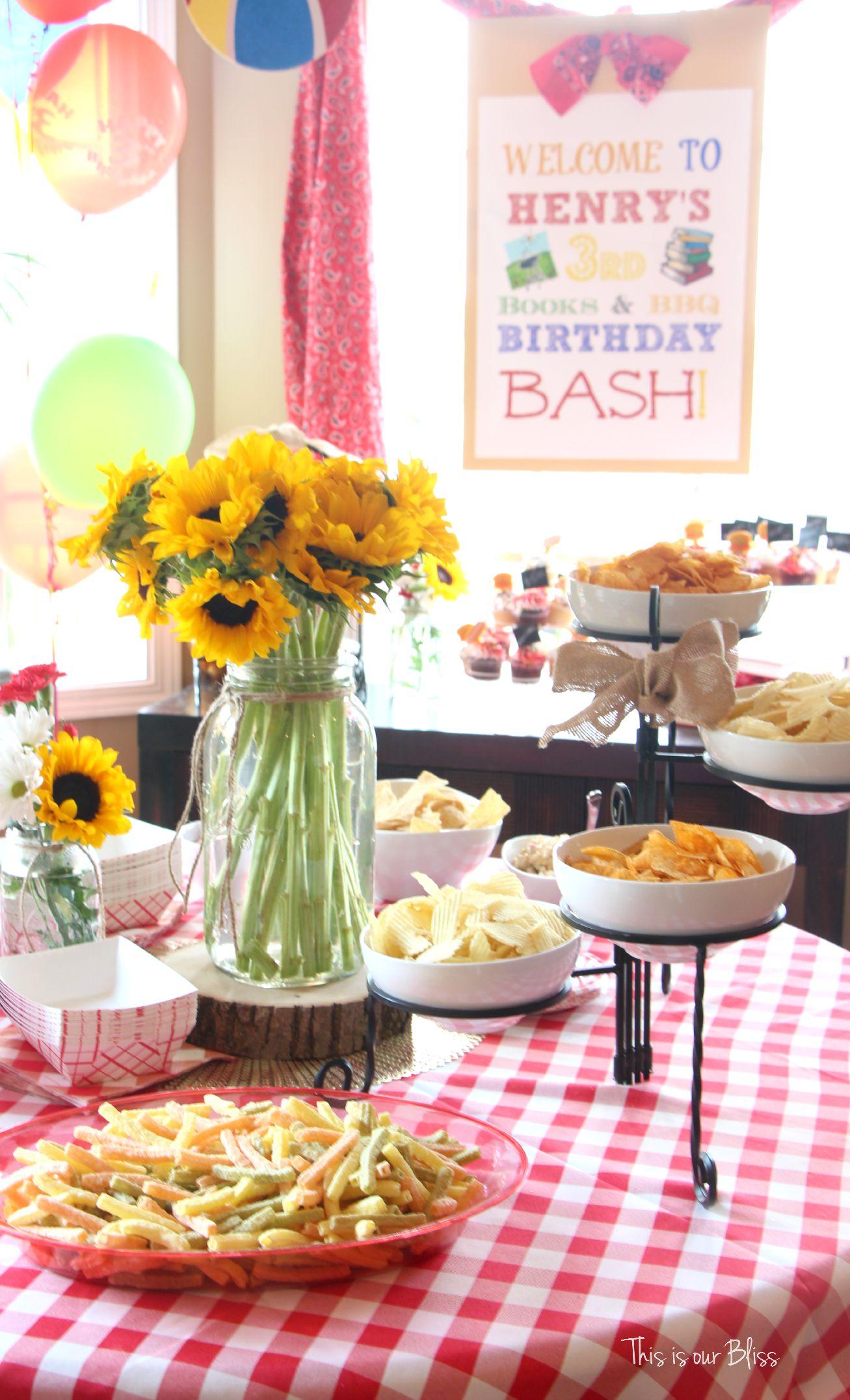 Books & BBQ birthday bash - 3rd birthday party - summer party ...
