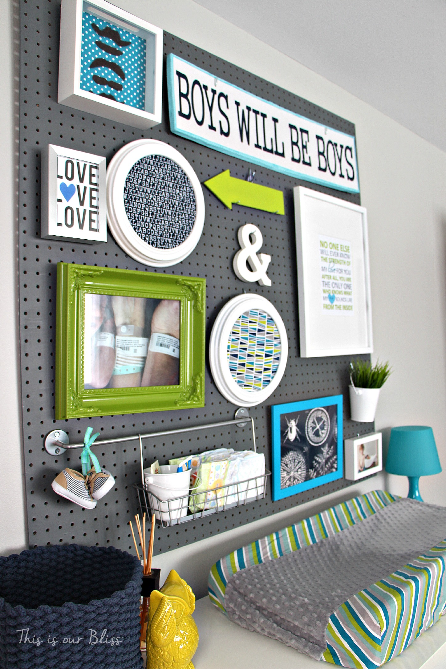 Little boy nursery pegboard gallery wall – DIY nursery decor – navy green & gray – This is our Bliss 3