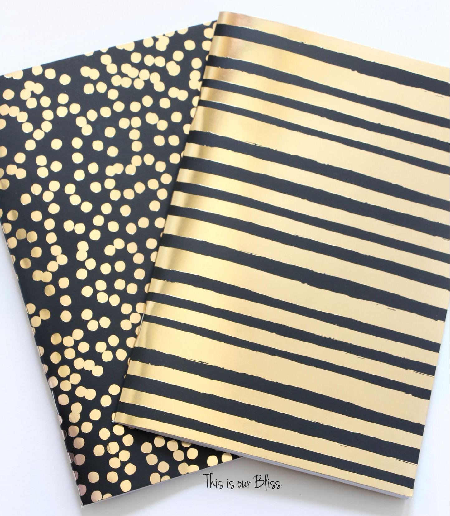 2 pack journals - black & gold foil polka dot journal turned art ...