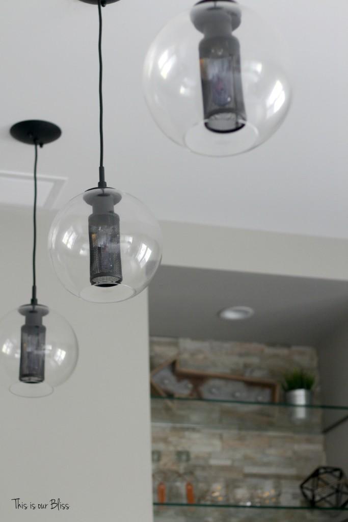 Living Room Feature Wall Decor: Basement Bar Modern Industrial Pendant Lights Stacked