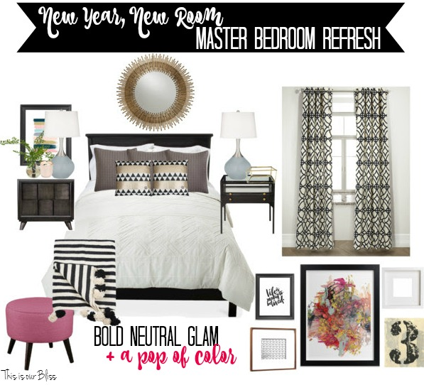 New year new room Master Bedroom Refresh Design board - bold neutral glam with a pop of color | This is our Bliss - thisisourbliss.com