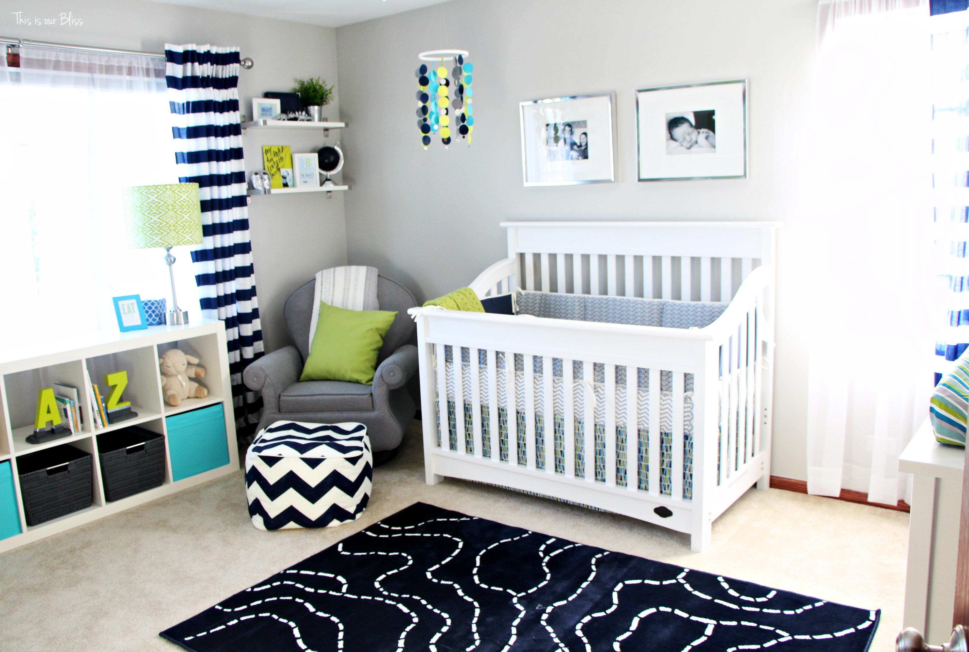 Simon S Bright And Bold Nursery Baby Boy Little Navy Lime Green Gray Room Thisisourbliss