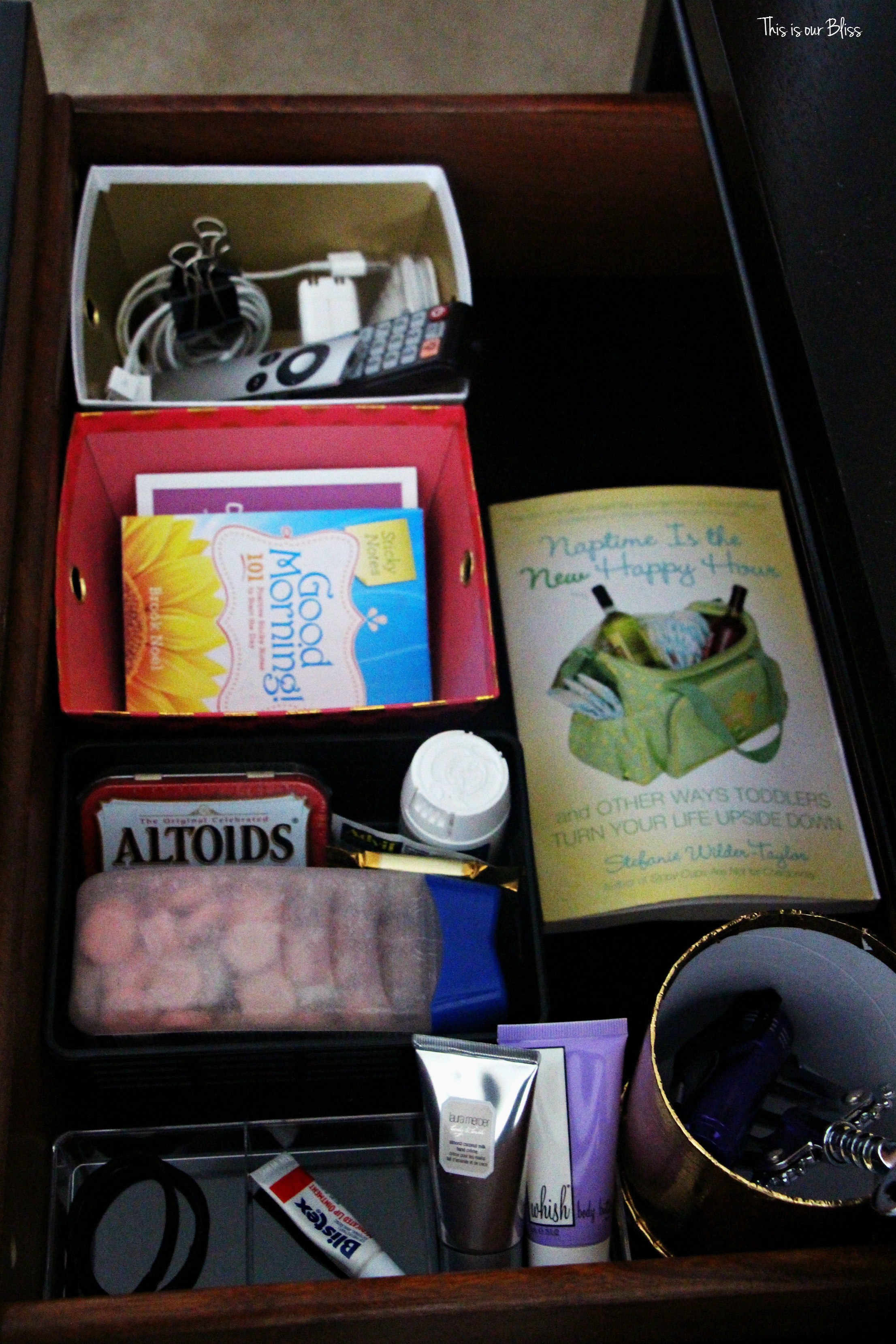 How To Organize Your Bedside Table Drawer Nightstand Organization Drawer Organization This Is Our Bliss Www Thisisourbliss Com This Is Our Bliss