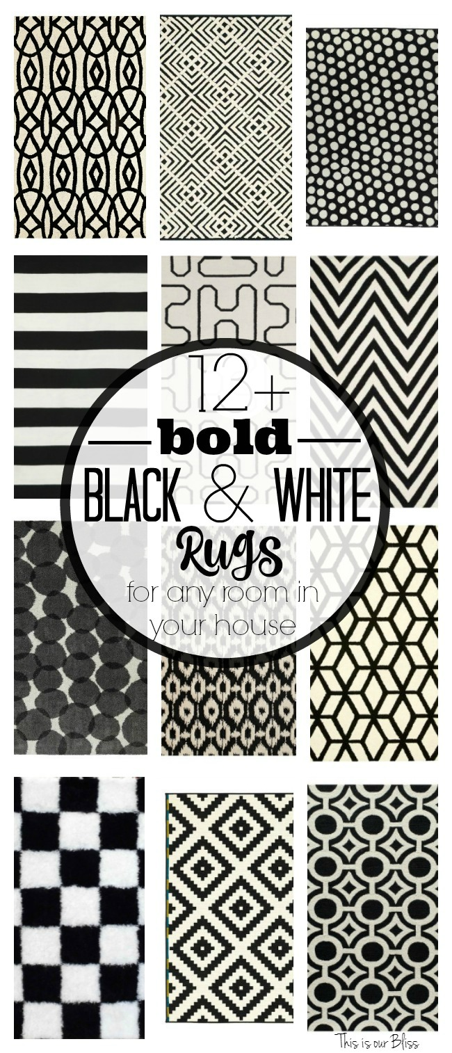 Favorite Black and White Area Rugs for your Home | This is our Bliss