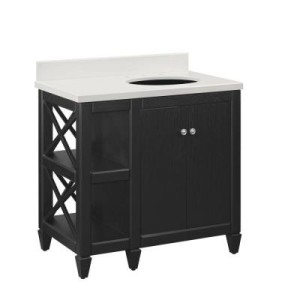 Home Decorator's collection Hayes Vanity | Glam Neutral Basement Bathroom | This is our Bliss | www.thisisourbliss.com