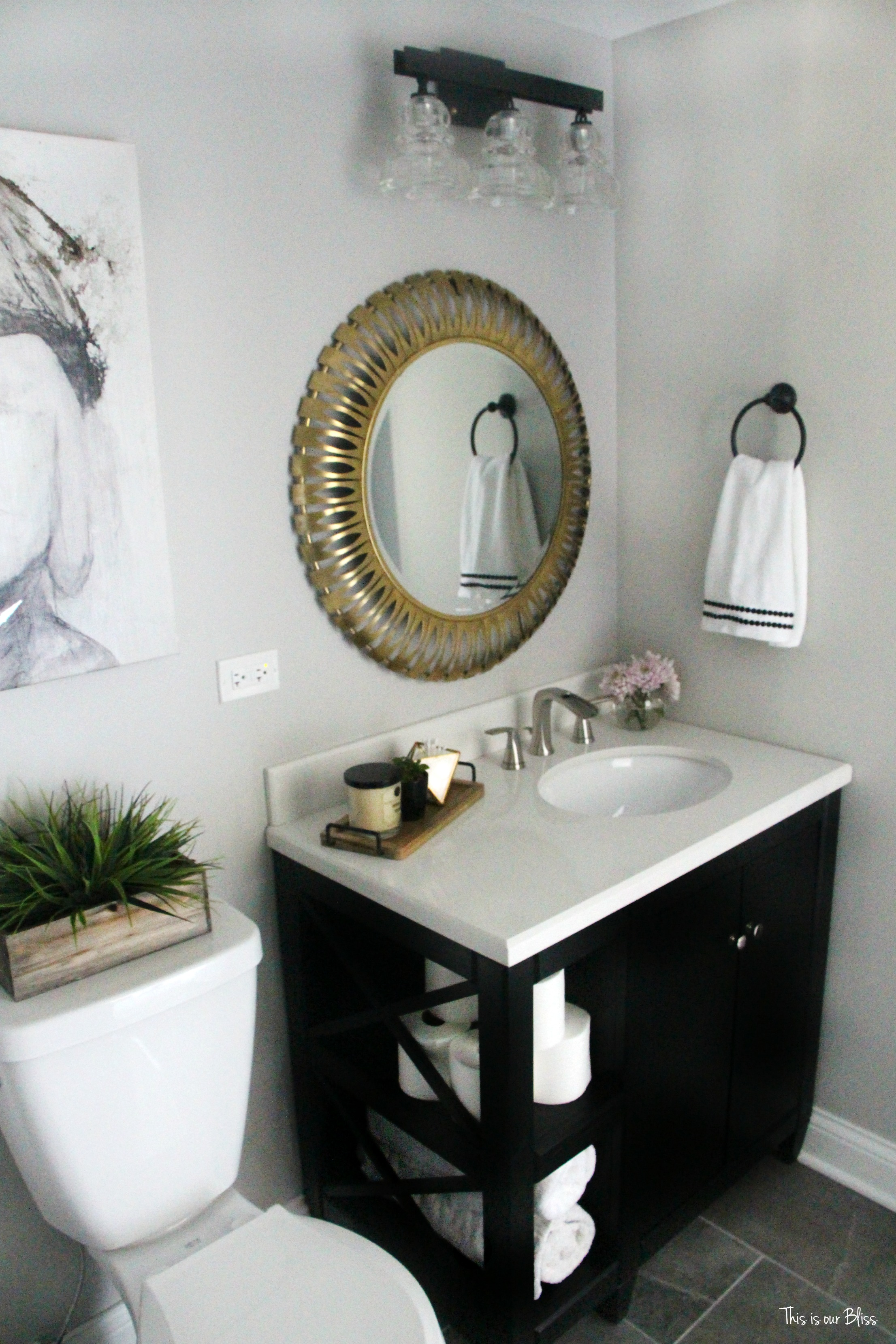 How to create a neutral glam bathroom for Grey and white bathroom accessories