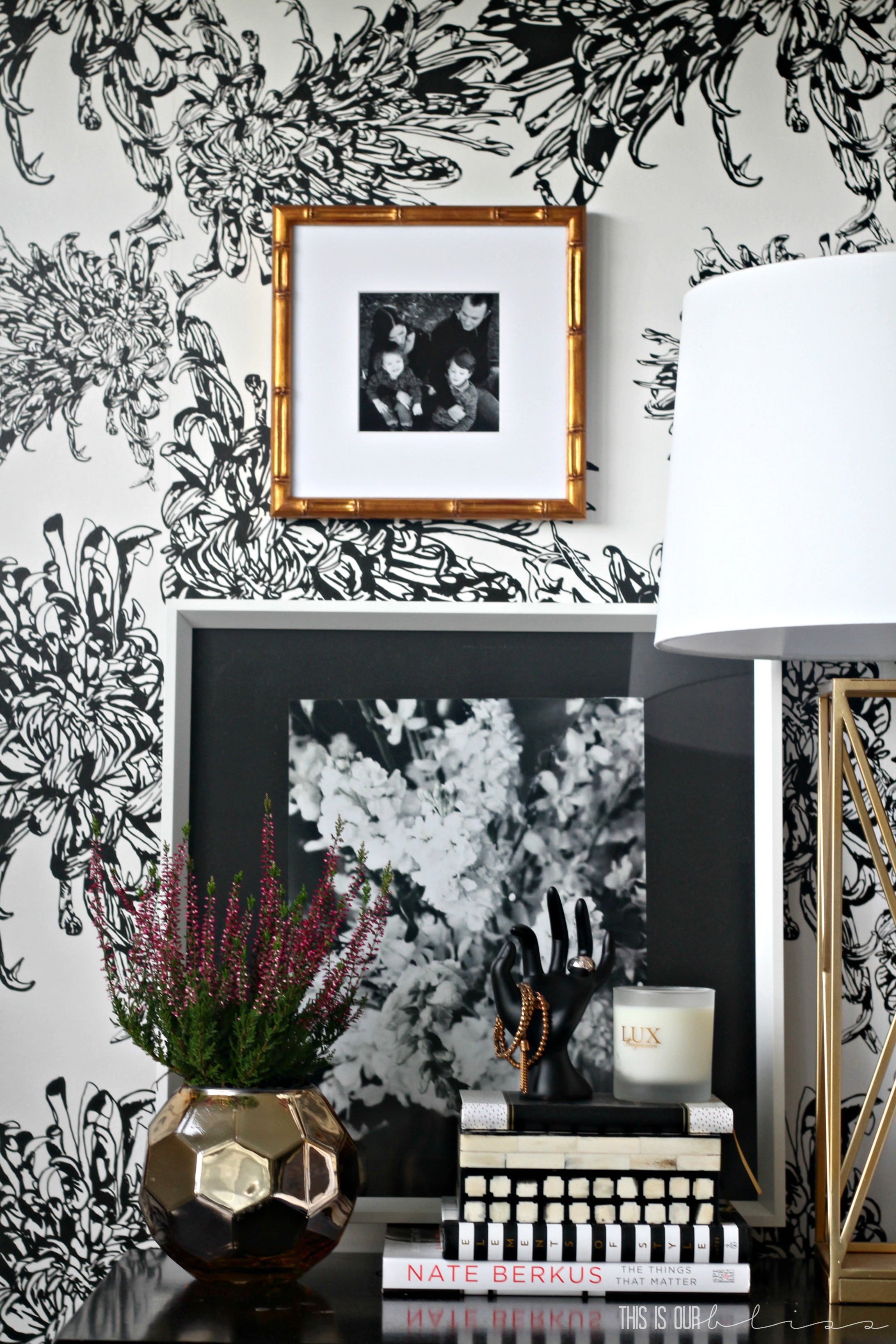 How To Style A Nightstand With Black White Gold Decor This Is Our Bliss Www Thisisourbliss Com This Is Our Bliss
