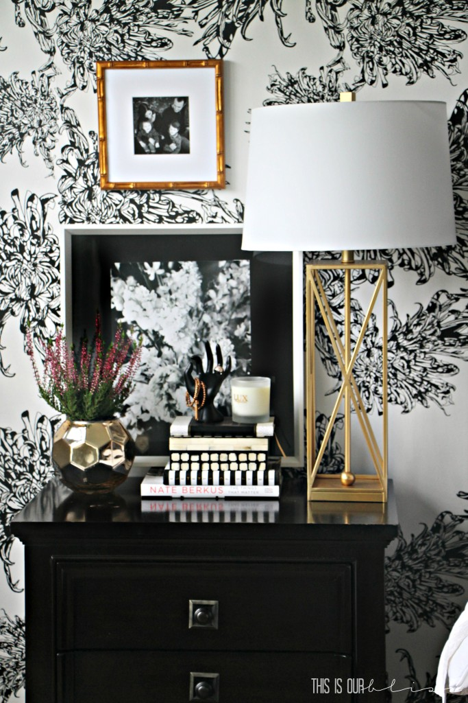 Nightstand styling and GORGEOUS wallpapered accent wall in the master bedroom | www.thisisourbliss.com