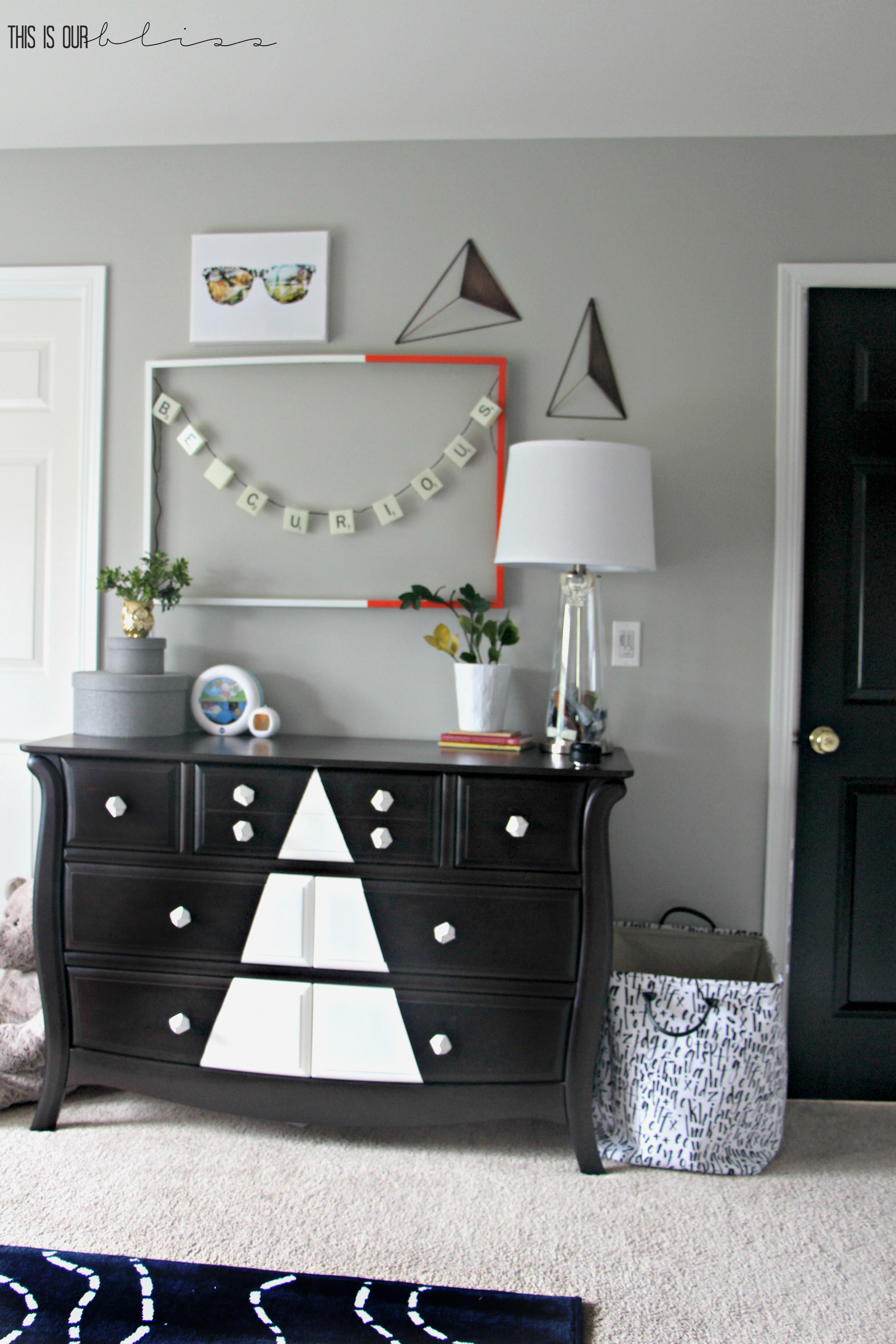 Big Boy Room | Bold, colorful and graphic plus a dresser update! | www.thisisourbliss.com