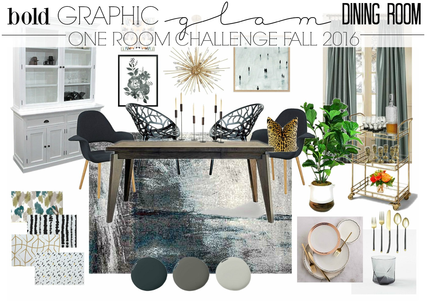 One Room Challenge: Bold Graphic Glam Dining Room | This is our Bliss