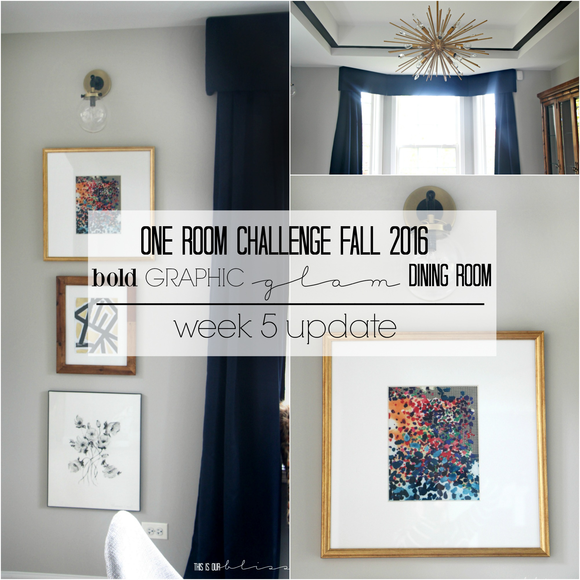Bold Graphic Glam Dining Room   One Room Challenge Fall 2016   This is our Bliss   www.thisisourbliss.com