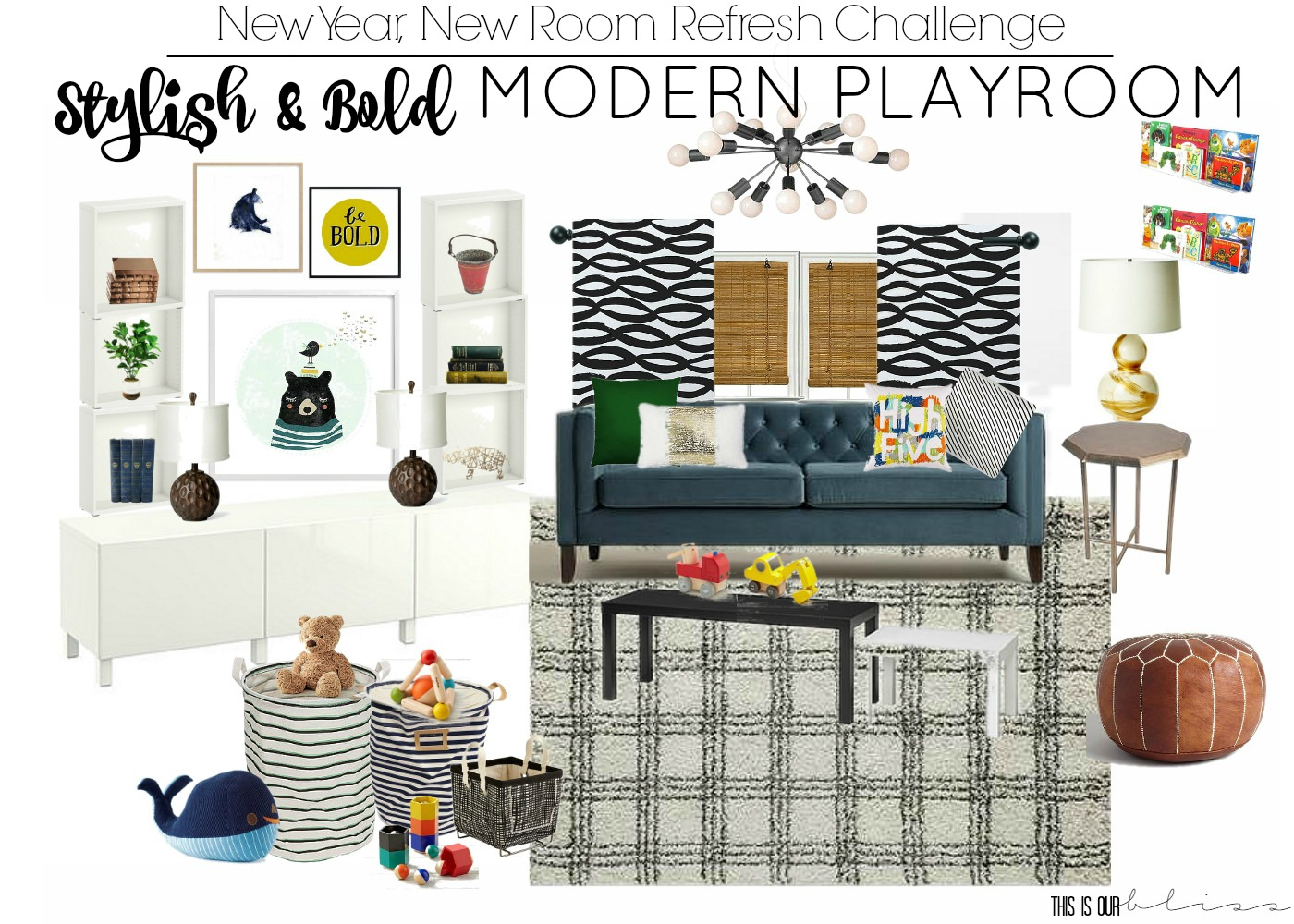 Stylish and Bold Modern Playroom Design Board | Functional Storage and seating for the Playroom | This is our Bliss