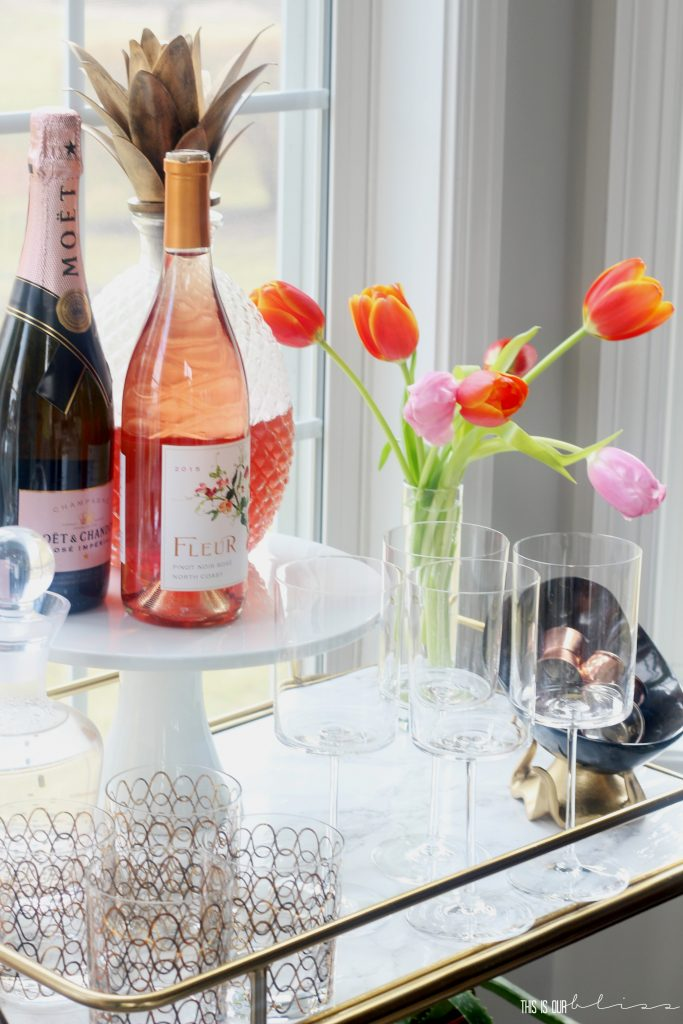 Adding a few Spring Touches to the Bar Cart | Spring Bar Cart Styling in the Dining Room | Rose and Champs!! | This is our Bliss