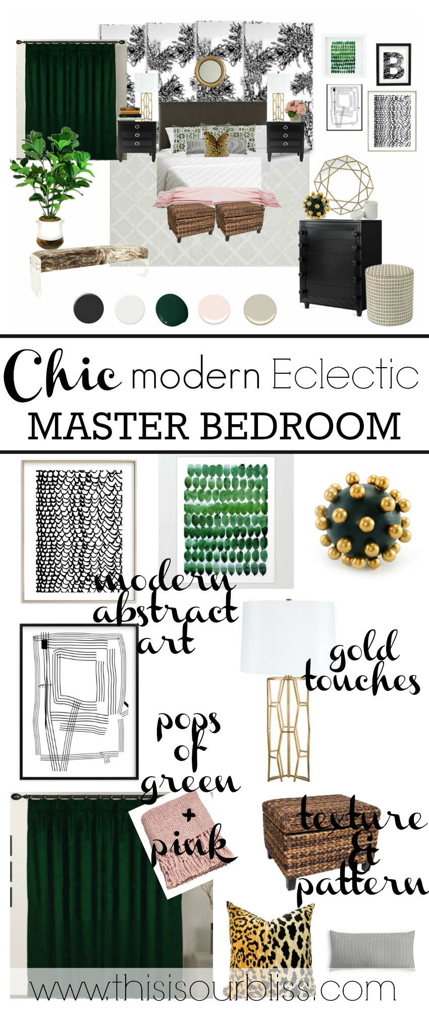 The beginning stages of a Chic Modern Eclectic Master Bedroom Retreat | This is our Bliss | www.thisisourbliss.com
