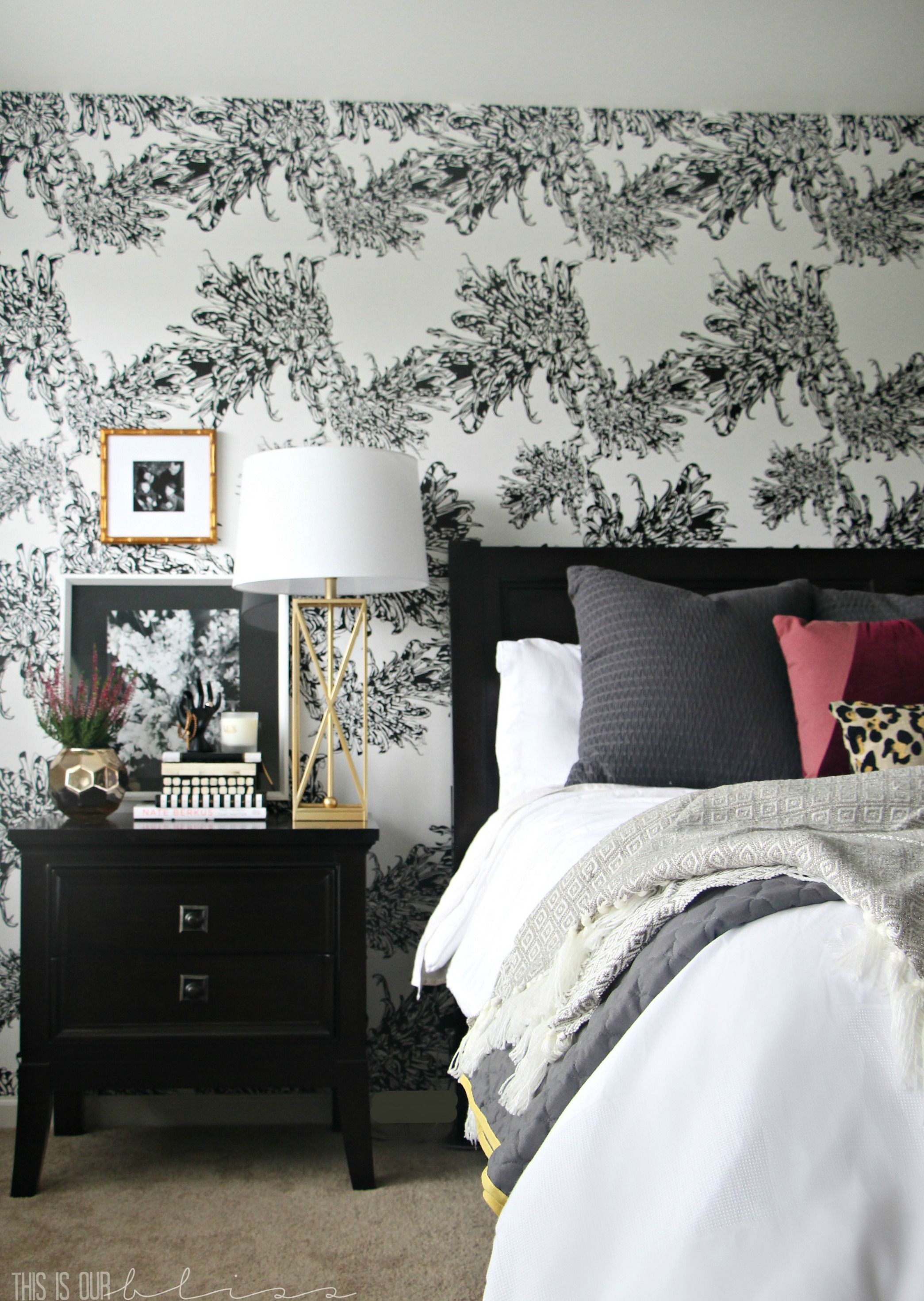 master-bedroom-accent-wall-black-and-white-wallpaper This is ...