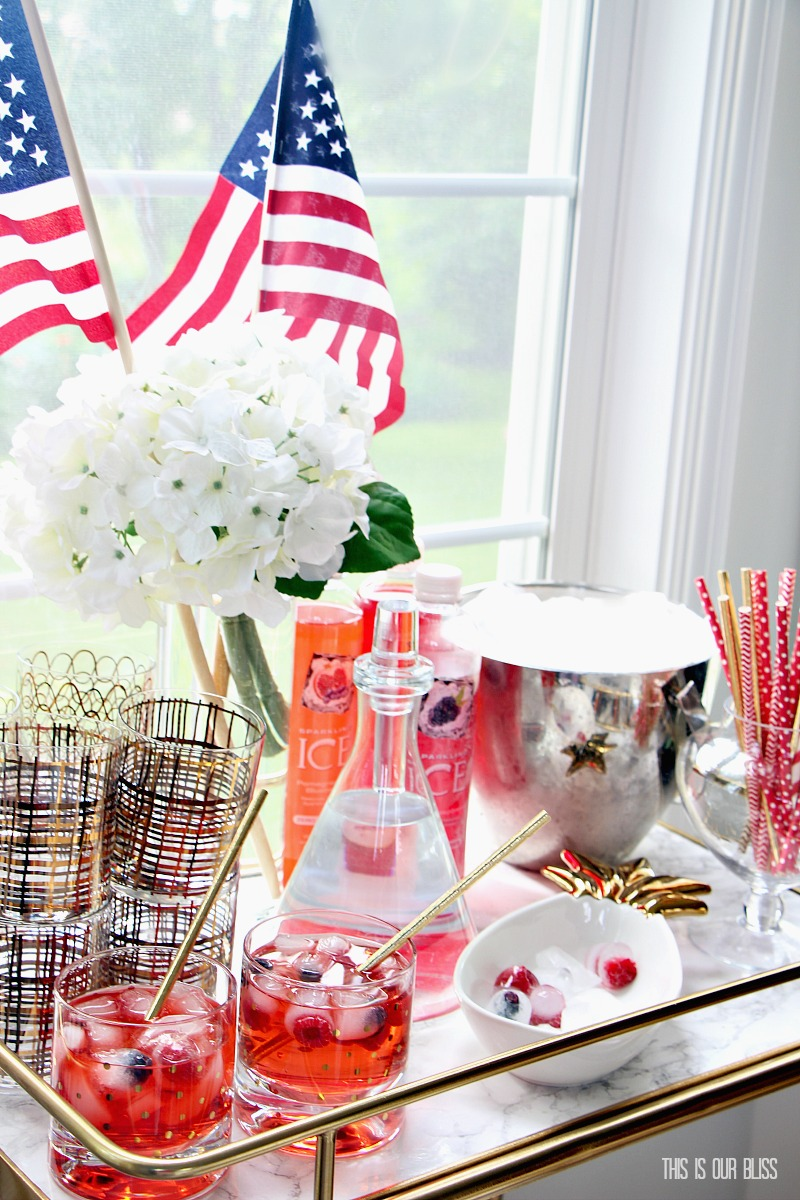 4th of july entertaining ideas festive bar cart styling this is our bliss