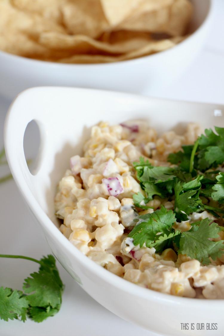 5 Minute Recipe | Cold Corn Fiesta Dip | Easy Entertaining Ideas! | via www.thisisourbliss.com