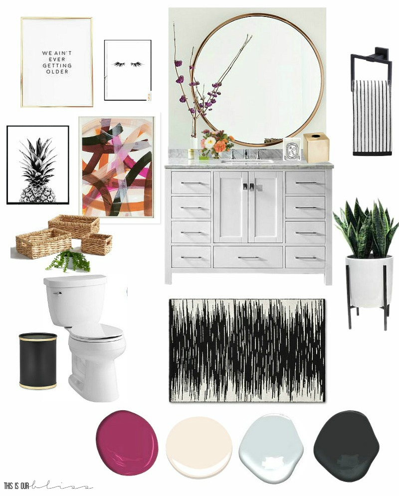 $100 Room Challenge | Feminine & Fun Powder Room Refresh Mood/Inspiration Board