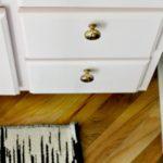 Powder Room Refresh: Pink Vanity + DIY Knob Update   $100 Room Challenge Week 2