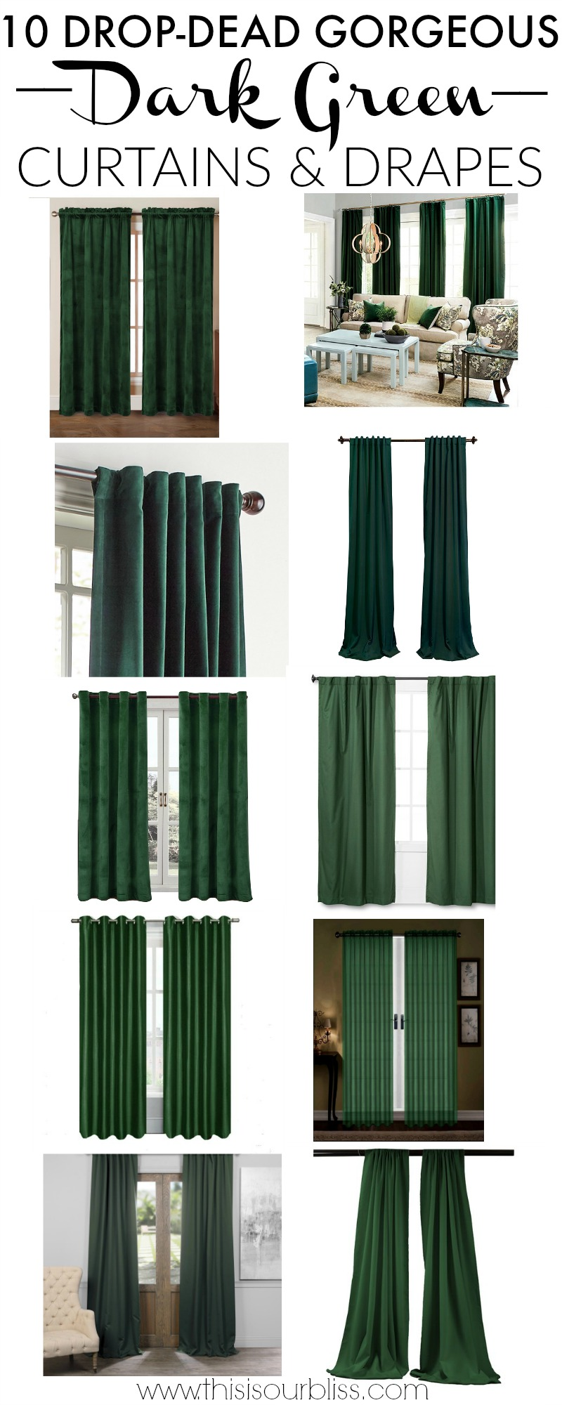 Ten Drop Dead Gorgeous Dark Green Drapes This Is Our Bliss