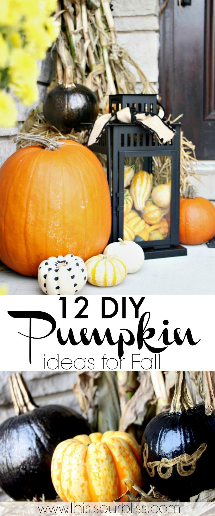 12 DIY Pumpkin Ideas for Fall - Pumpkin Crafts, Decor, Recipes & more!