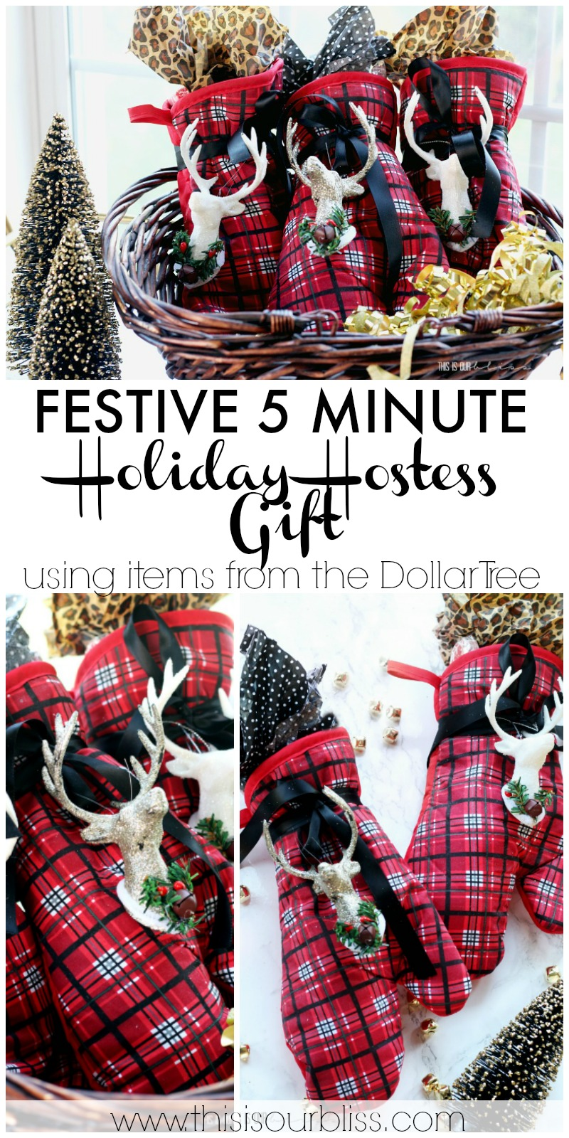 5 Minute Holiday Hostess Gift - My Dollar Store DIY | This is our Bliss