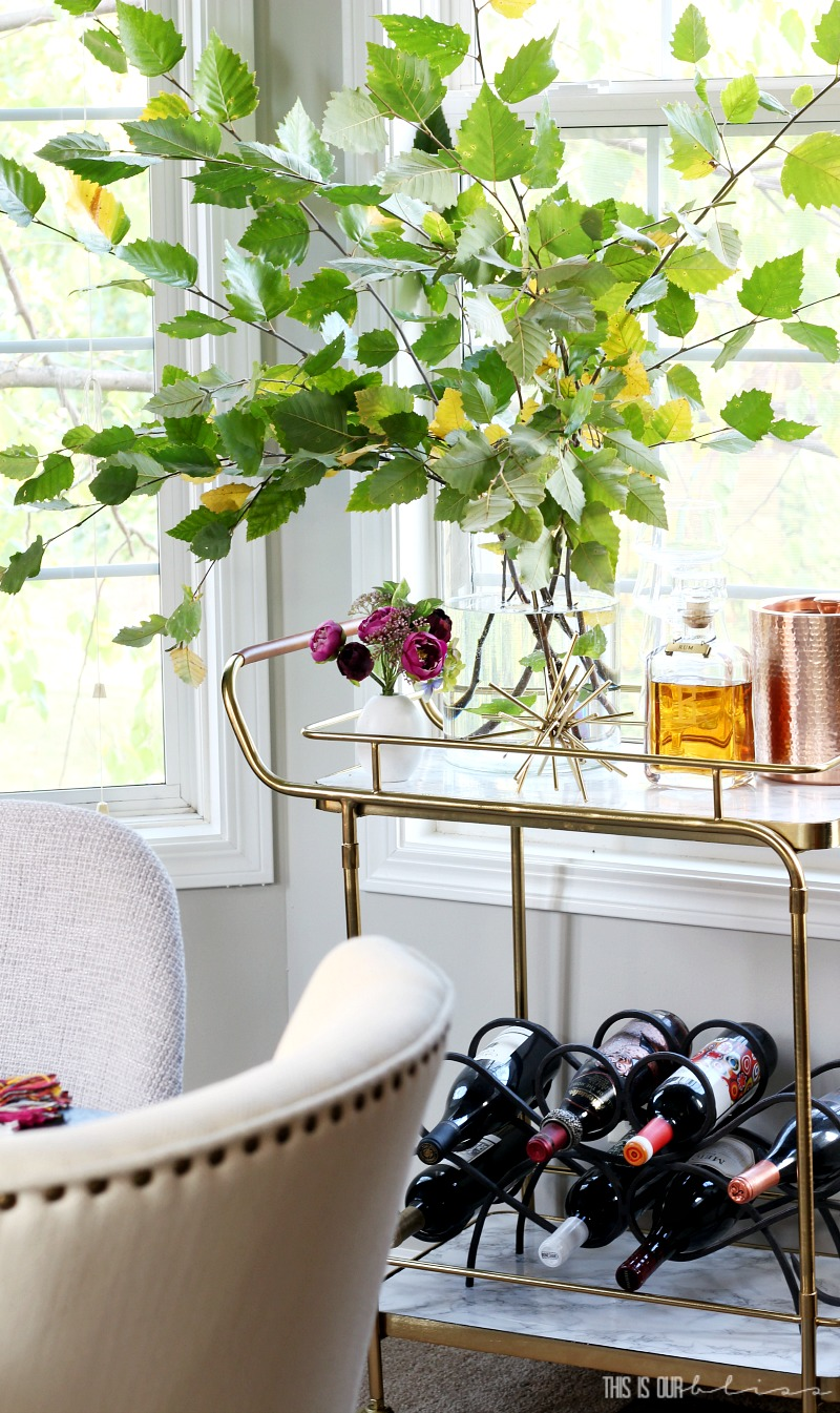 No-Fuss Fall Bar Cart | A Simply Styled Fall Bar Cart with High-style and low-cost