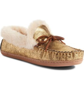 Gold Moccasin Slippers
