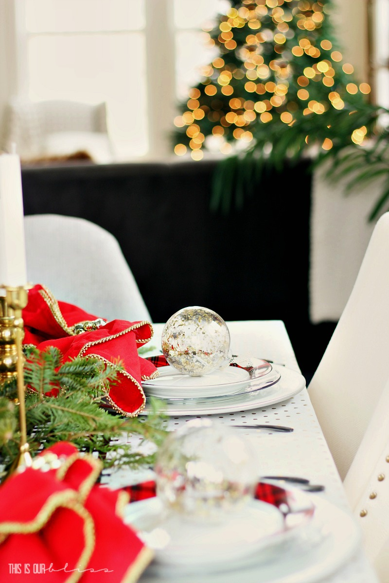 Bright Bold & Festive Christmas Tablescape - DIY Holiday Table in the Dining Room