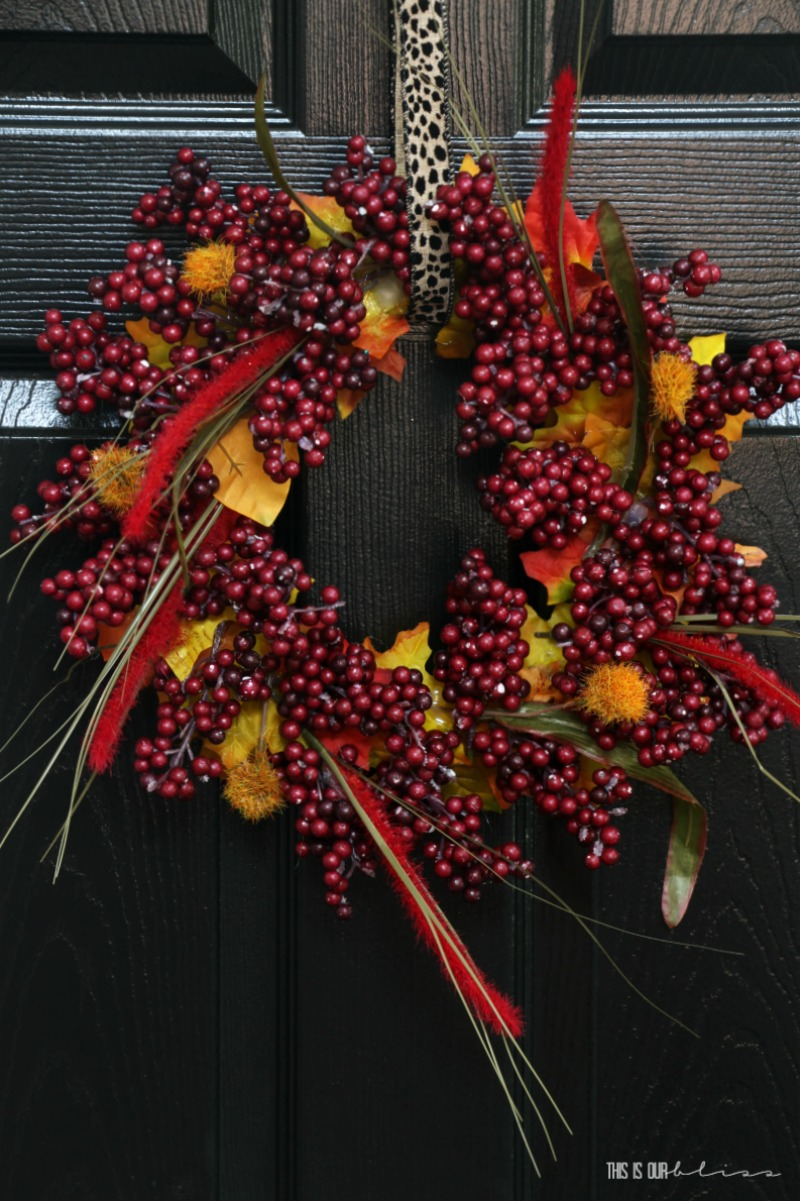 DIY Autumn Leaf and Berry Wreath - Perfect Fall and Thanksgiving decor!