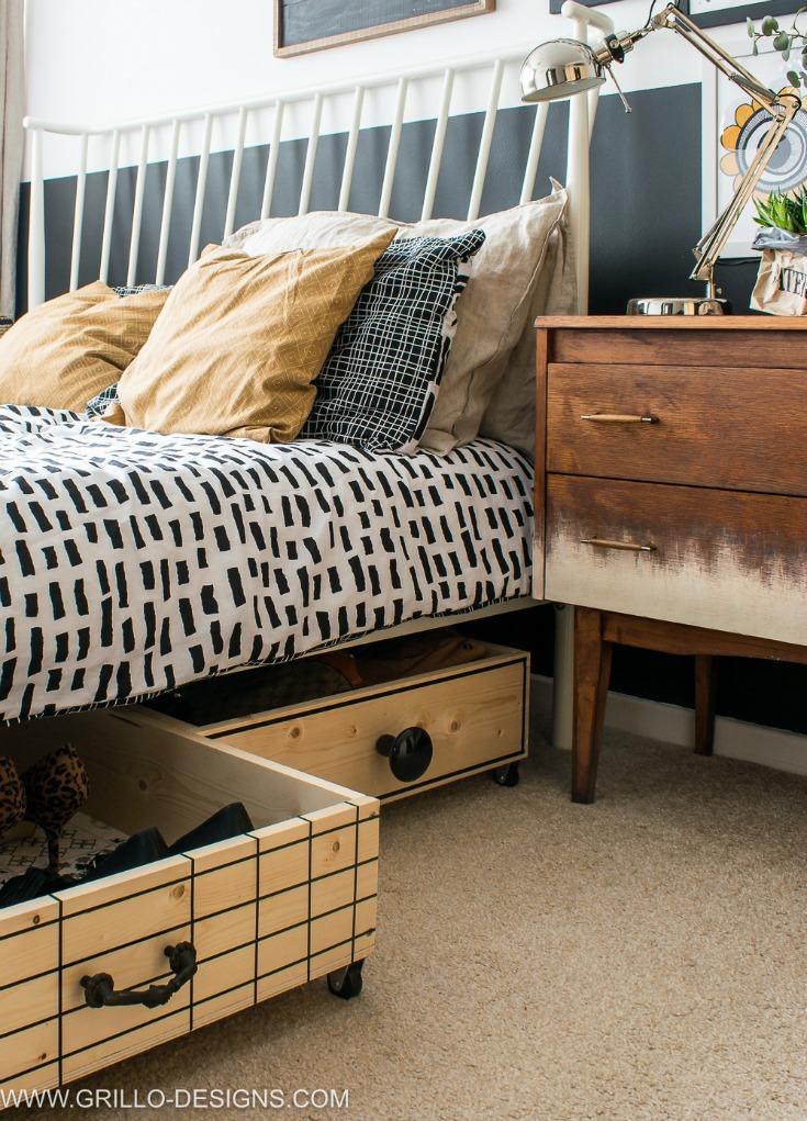 Scandi style wooden under bed storage