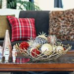 Pretty in Plaid Christmas Living Room - subtle pops of red among all the metallics!