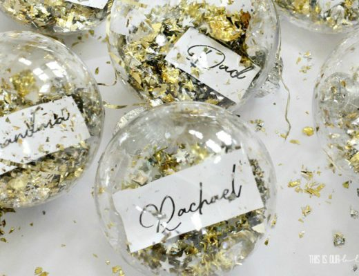 DIY Dollar Store Ornament Place Card - Metallic confetti-filled ornaments on a bright, bold and festive Christmas Table!