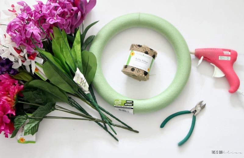 My Dollar Store DIY - DIY Polka Dot Burlap & Faux Floral Spring Wreath