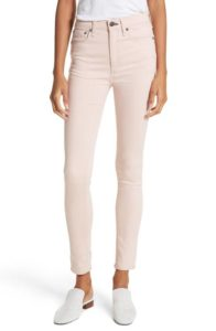High waisted skinny ankle jeans in blush pink