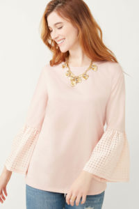 Blush Pink bell sleeve with cut-out detail top