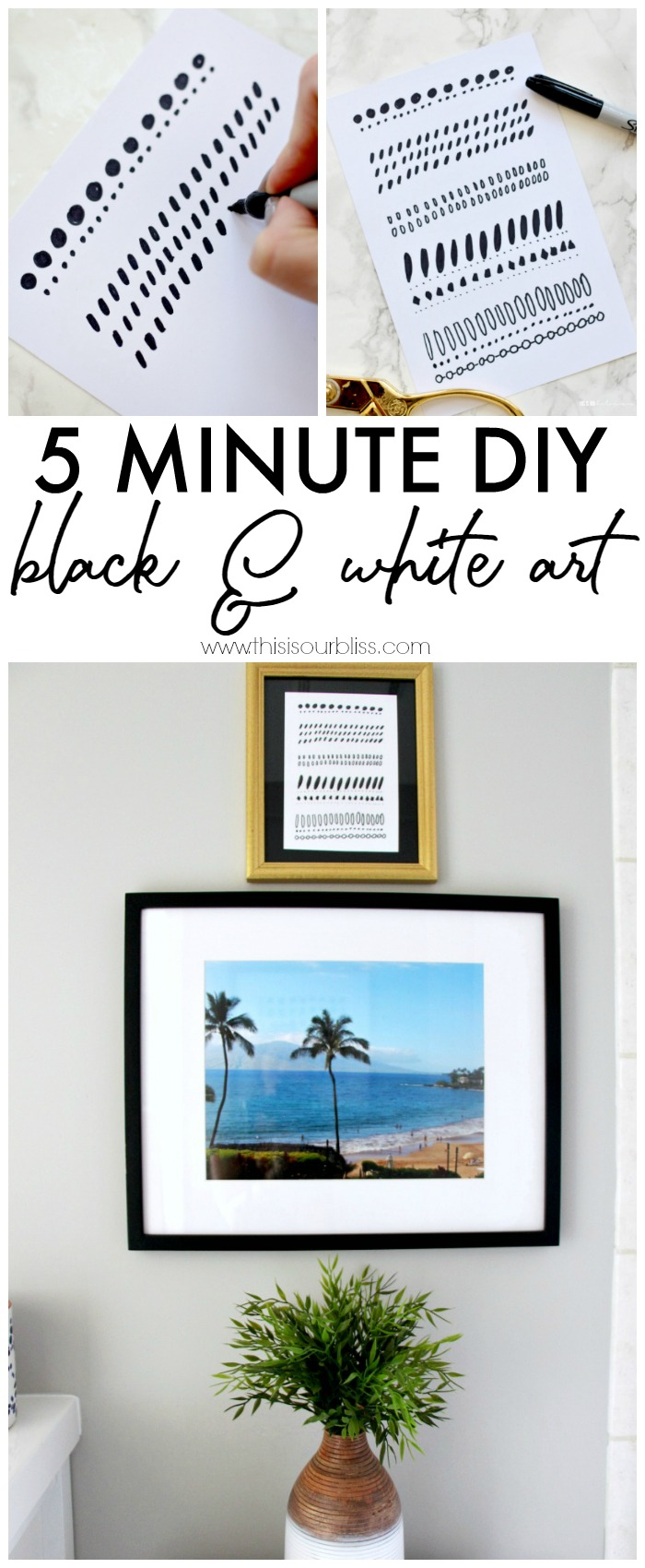 5 Minute DIY Black and White Art - Basement Guest Bathroom Update