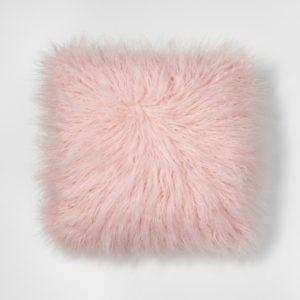Faux Mongolian Fur Pillow in blush pink