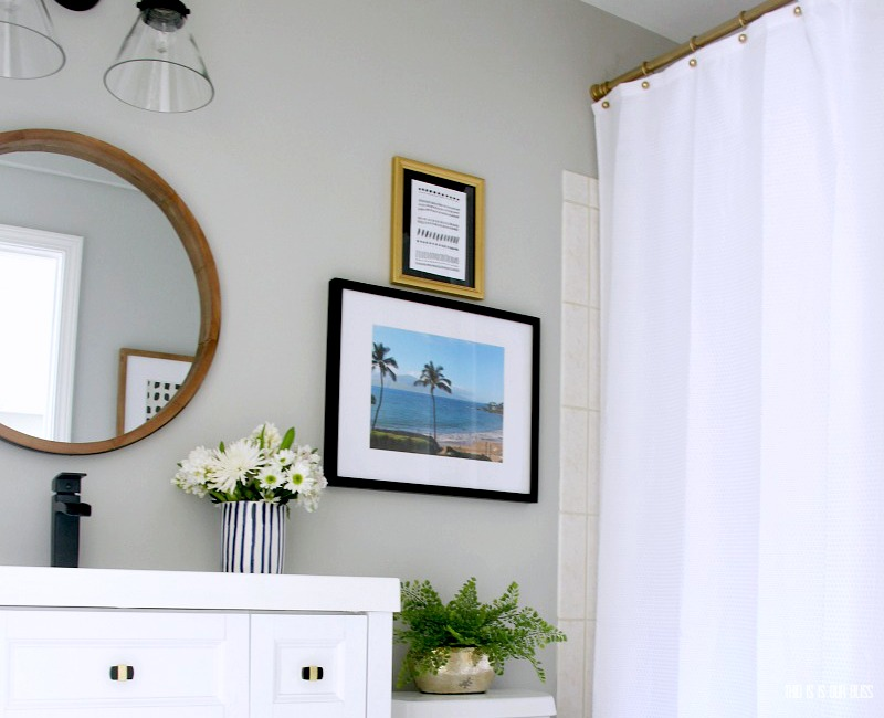 Modern Bold and Beachy Basement Guest Bathroom Update Reveal - Primp and Pamper Bathroom Refresh Challenge - This is our Bliss