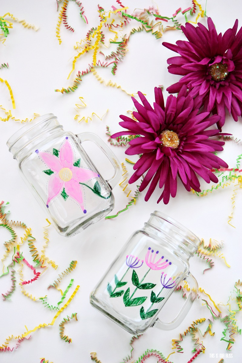 DIY Dollar Store painted Mason Jar Mug - Spring Hostess gift idea ...