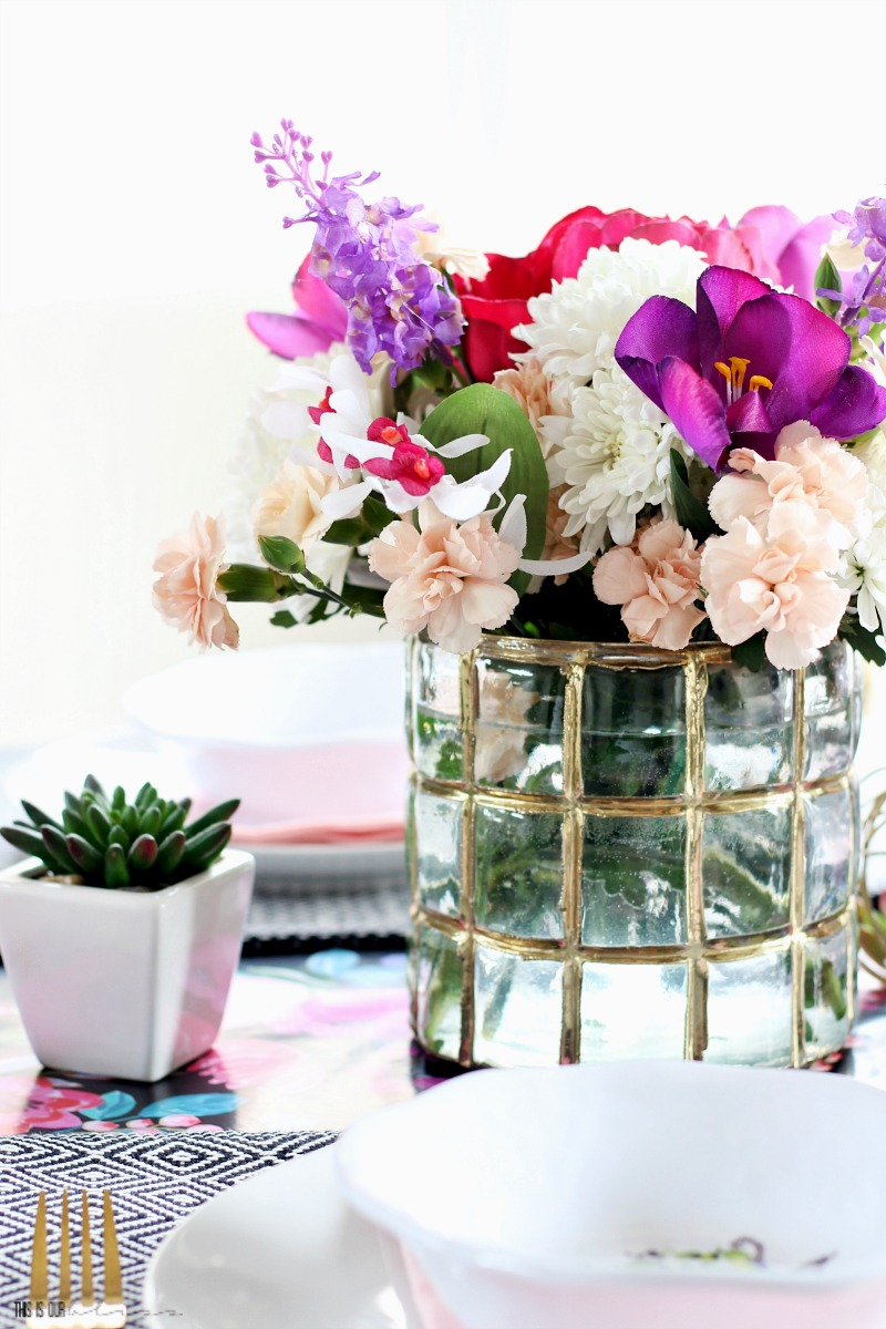 Floral & Feminine Spring Table - How to Make a Quick and Simple Spring Floral Arrangement using fresh and faux flowers! - This is our Bliss