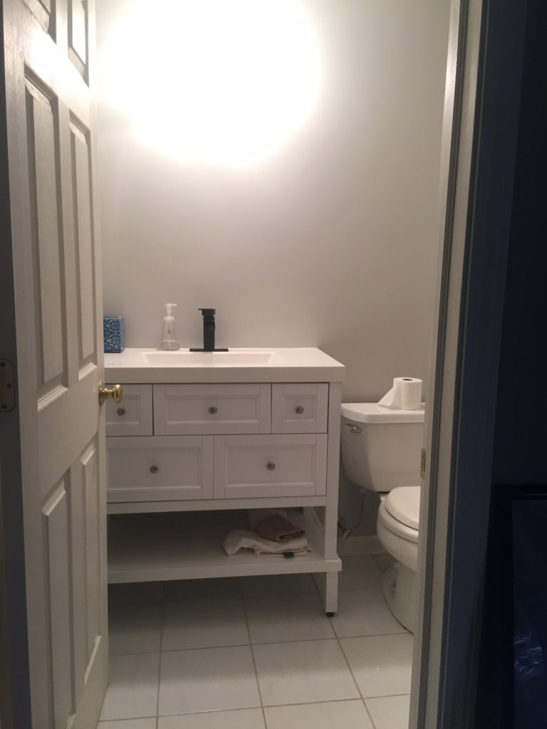 Basement Guest Bathroom Before photos - Modern Bold and Beachy guest bathroom Refresh - This is our Bliss