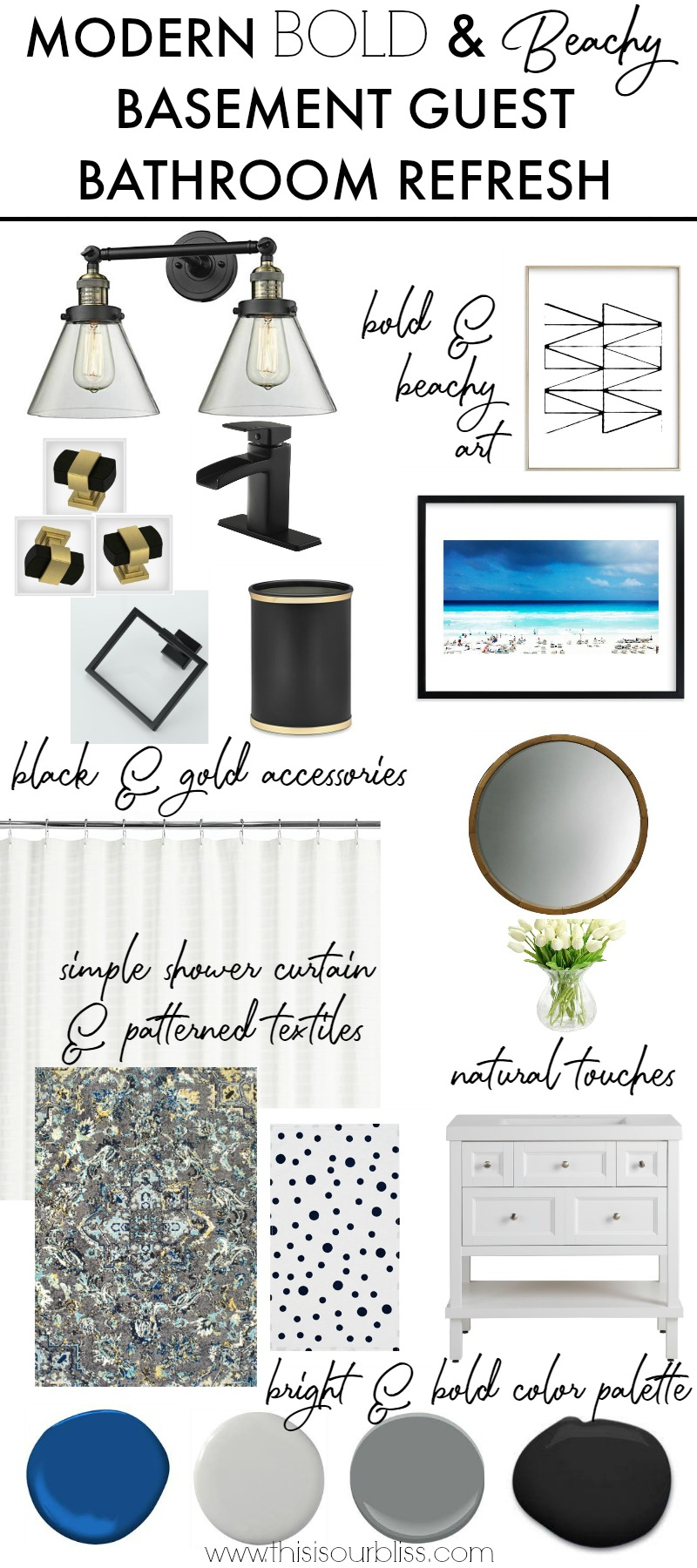 Modern Bold & Beachy Basement Guest Bathroom Refresh - Primp and Pamper Bathroom Challenge - This is our Bliss