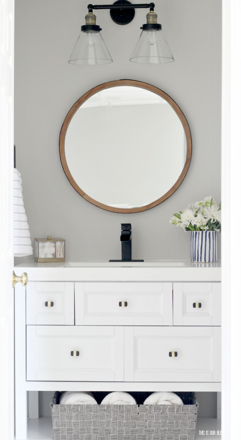 Modern Bold And Beachy Basement Guest Bathroom Update Reveal   Primp And  Pamper Bathroom Refresh Challenge