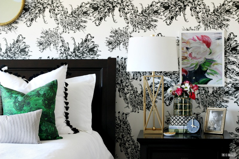 gorgeous accent wallpaper in master bedroom by This Is Our Bliss