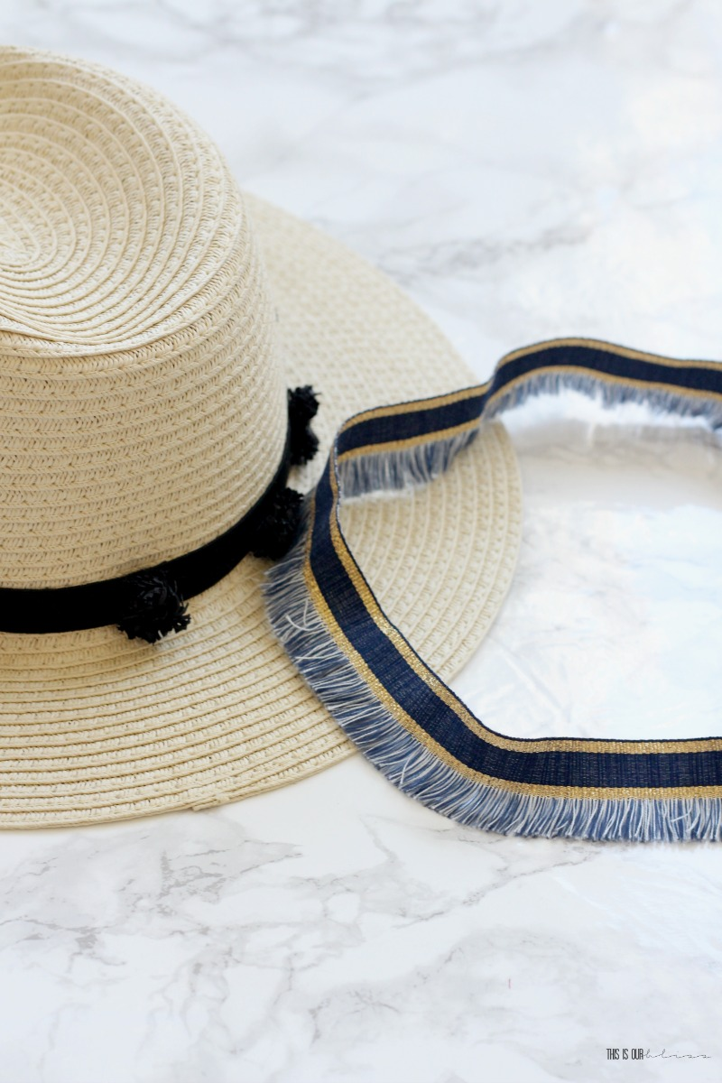 DIY Beach hat trim - My Dollar Store DIY - This is our Bliss